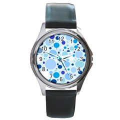 Bubbly Blues Round Leather Watch (Silver Rim)