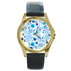 Bubbly Blues Round Leather Watch (Gold Rim)
