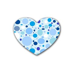 Bubbly Blues Drink Coasters 4 Pack (Heart)