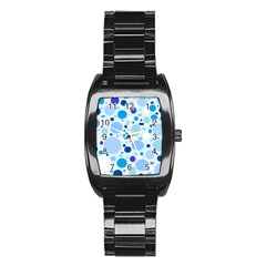 Bubbly Blues Stainless Steel Barrel Watch