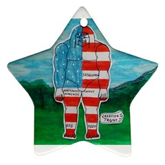 Painted Flag Big Foot Aust Star Ornament