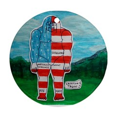 Painted Flag Big Foot Aust Round Ornament