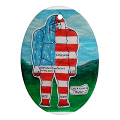 Painted Flag Big Foot Aust Oval Ornament