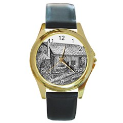 Sugarcreek ` Ave Hurley - ArtRave -  Round Leather Watch (Gold Rim)