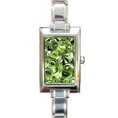 Retro Green Abstract Rectangular Italian Charm Watch