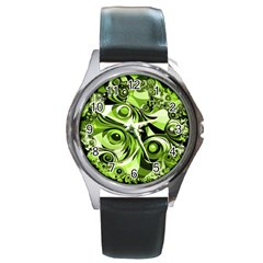 Retro Green Abstract Round Leather Watch (Silver Rim)