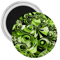 Retro Green Abstract 3  Button Magnet