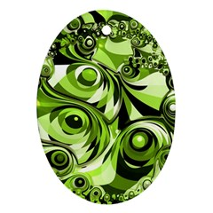 Retro Green Abstract Oval Ornament