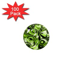 Retro Green Abstract 1  Mini Button Magnet (100 pack)