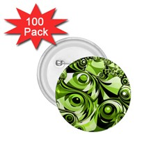 Retro Green Abstract 1 75  Button (100 Pack)