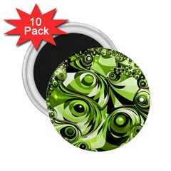 Retro Green Abstract 2.25  Button Magnet (10 pack)