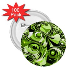 Retro Green Abstract 2.25  Button (100 pack)