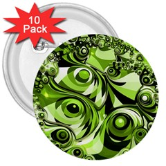 Retro Green Abstract 3  Button (10 pack)