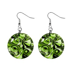 Retro Green Abstract Mini Button Earrings