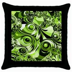Retro Green Abstract Black Throw Pillow Case