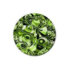 Retro Green Abstract Drink Coasters 4 Pack (Round)