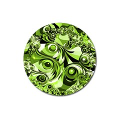 Retro Green Abstract Magnet 3  (Round)