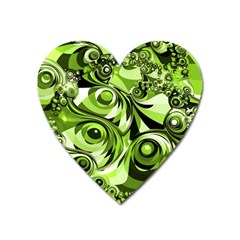 Retro Green Abstract Magnet (Heart)
