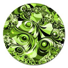 Retro Green Abstract Magnet 5  (Round)