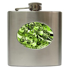 Retro Green Abstract Hip Flask