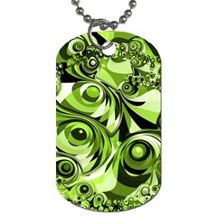 Retro Green Abstract Dog Tag (two Sided)
