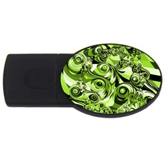 Retro Green Abstract 1GB USB Flash Drive (Oval)