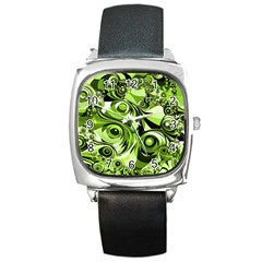 Retro Green Abstract Square Leather Watch