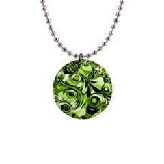 Retro Green Abstract Button Necklace