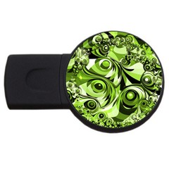 Retro Green Abstract 4GB USB Flash Drive (Round)