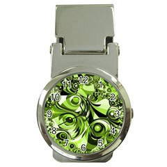 Retro Green Abstract Money Clip With Watch