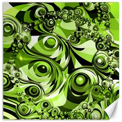 Retro Green Abstract Canvas 16  X 16  (unframed)