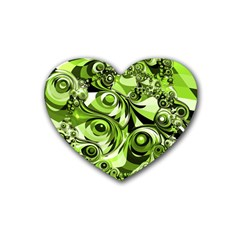 Retro Green Abstract Drink Coasters 4 Pack (Heart)