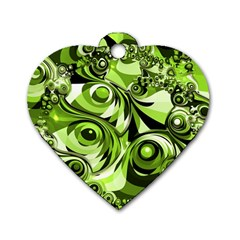 Retro Green Abstract Dog Tag Heart (Two Sided)