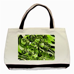 Retro Green Abstract Twin Sided Black Tote Bag