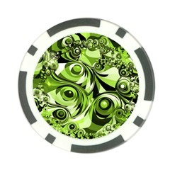 Retro Green Abstract Poker Chip