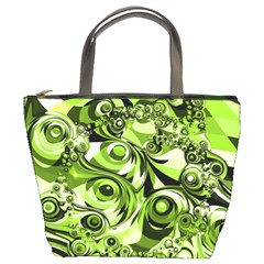 Retro Green Abstract Bucket Handbag