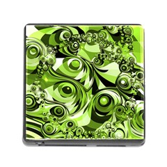Retro Green Abstract Memory Card Reader with Storage (Square)