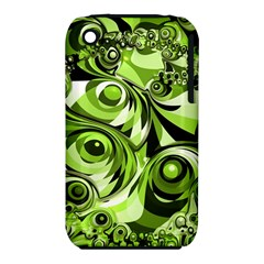 Retro Green Abstract Apple iPhone 3G/3GS Hardshell Case (PC+Silicone)