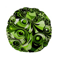 Retro Green Abstract 15  Premium Round Cushion