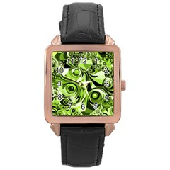 Retro Green Abstract Rose Gold Leather Watch