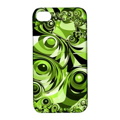 Retro Green Abstract Apple iPhone 4/4S Hardshell Case with Stand