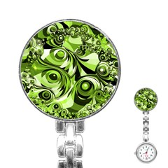 Retro Green Abstract Stainless Steel Nurses Watch