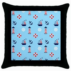 Sailing The Bay Black Throw Pillow Case