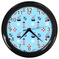Sailing The Bay Wall Clock (Black)