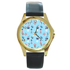 Sailing The Bay Round Leather Watch (Gold Rim)