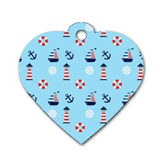 Sailing The Bay Dog Tag Heart (one Sided)