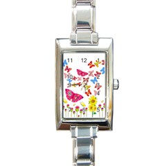 Butterfly Beauty Rectangular Italian Charm Watch