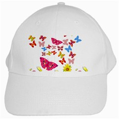 Butterfly Beauty White Baseball Cap
