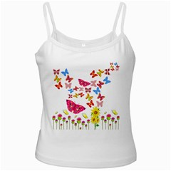Butterfly Beauty White Spaghetti Tank