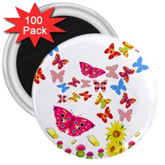 Butterfly Beauty 3  Button Magnet (100 pack)